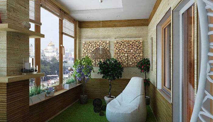 Отделка балконов бамбуком и дранкой